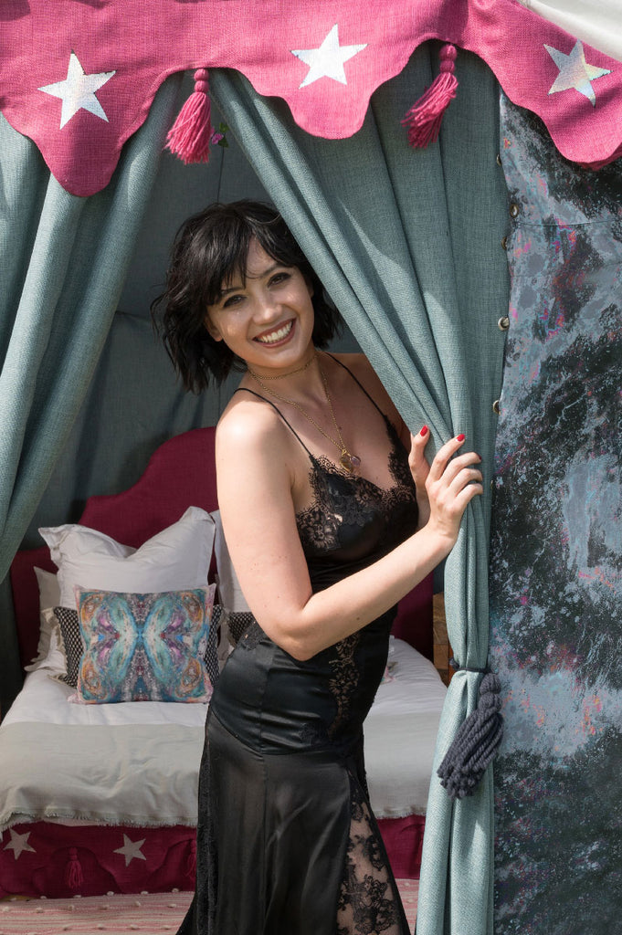 DAISY LOWE ASKED SONYA ROTHWELL OF GALLERY BEAUTIFUL TO INTERIOR DESIGN DECORATE HER ART YURT AT YURTEL FOR GLASTO FESTIVAL GLAMPING