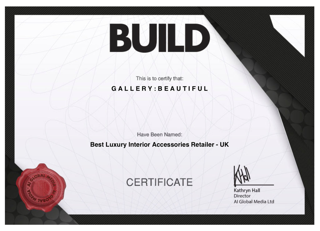 Sonya Rothwell's Gallery Beautiful wins Best Luxury Interior Accessories Award by Build Magazine House and Garden Awards