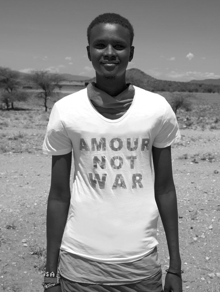 Sonya Rothwell photograph of Masai + Samburu tribe beautiful Kenya, Africa wearing her Temple Beautiful AMOUR NOT WAR Non-Profit T-Shirts helping deprived children live better lives : Highly collectable, museum quality fine art giclée prints on Hahnemühle archival wall art paper : 15% off your first order from Gallery Beautiful