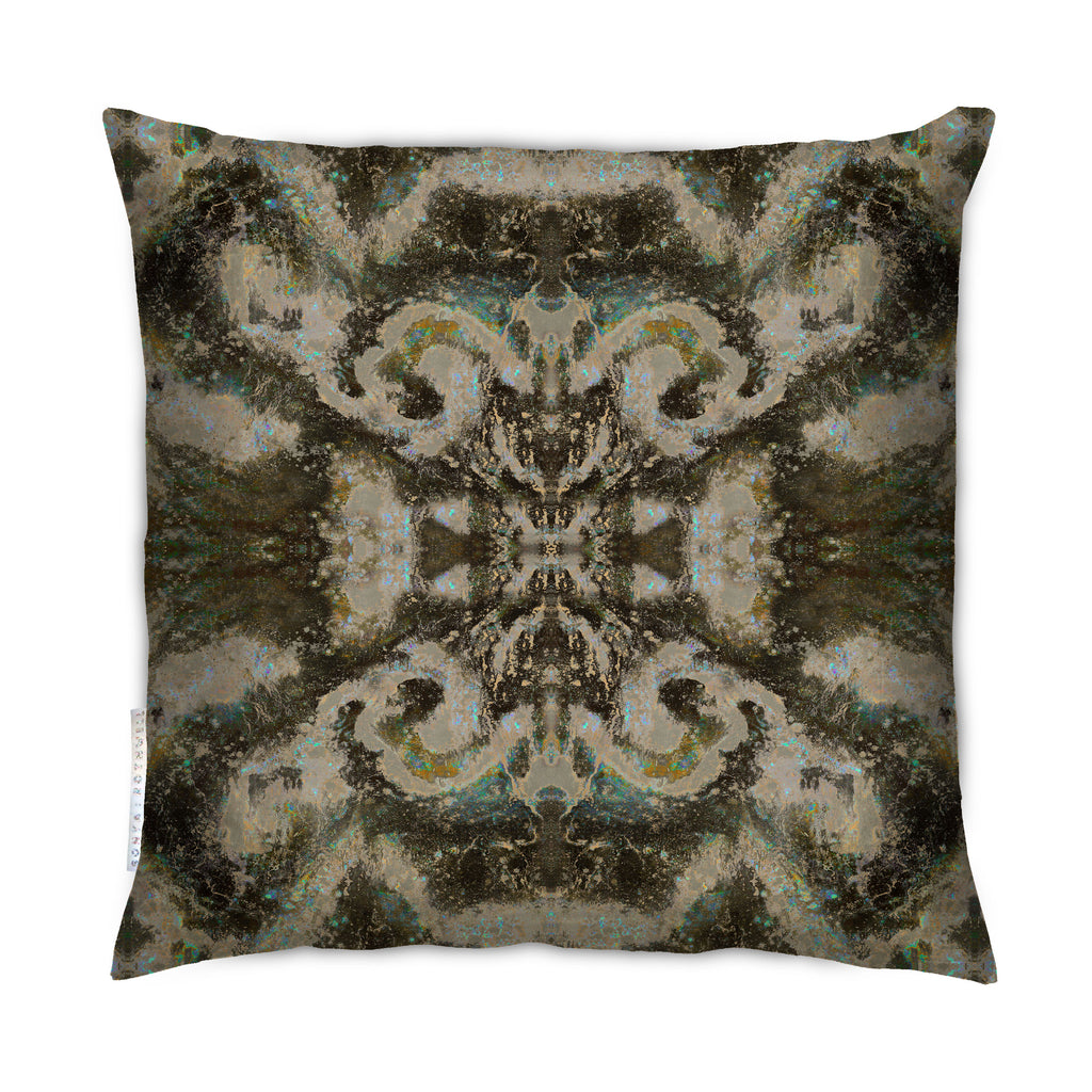 Award winning Sonya Rothwell luxury cushions + outdoor cushions in breathable waterproof fabric, beautifully handmade to order in four sizes by local artisans. Art inspired ikat style celestial designer pillow in a vibrant liquorice brown textile pattern design to suit modern home decoration and garden furniture