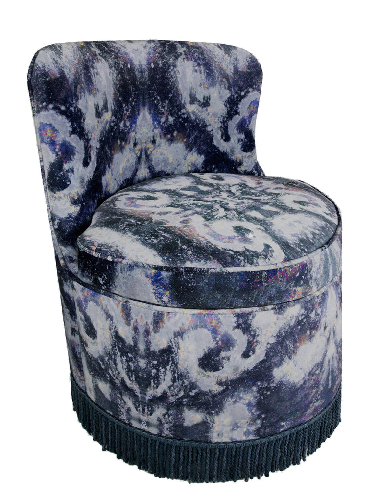 Side View, World of interiors, elle decor, vogue living design, SONYA ROTHWELL x GALLERY BEAUTIFUL TRITON TUB CHAIR BOUDOIR CHAIR IN MOKSHA ANISE VELVET, ornate fringed tub chair in midnight blue modern celestial design perfect style statement for home decor interior design