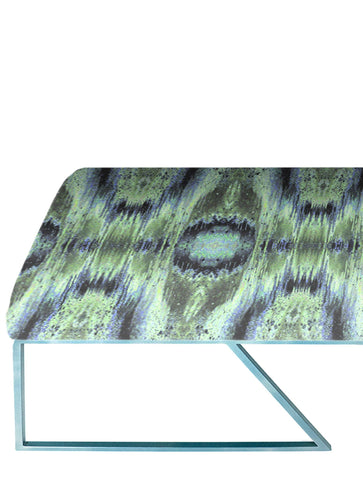 IRIDESCENT LIGHTENING BENCH : INFIINIITY BLUE SAGE VELVET