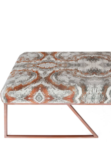 IRIDESCENT LIGHTENING BENCH : SACRED GEOMETRY ROSE GOLD VELVET