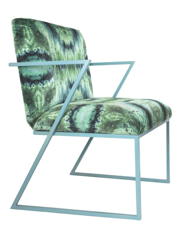 IRIDESCENT LIGHTENING DINING CHAIR : INFIINIITY BLUE SAGE VELVET