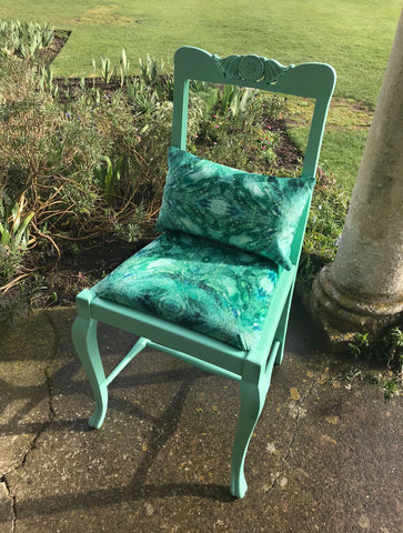 ONE-OFF HAND-PAINTED ANTIQUE AQUA CHAIR : AMULET FOREST FABRIC