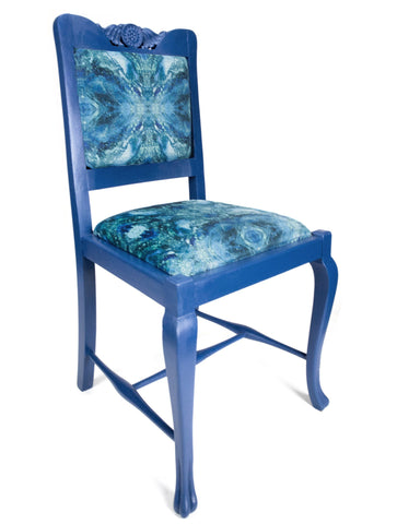 ONE-OFF HAND-PAINTED ANTIQUE BLUE CHAIR : AMULET LAKE FABRIC