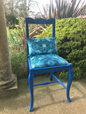 Chair - ONE-OFF HAND-PAINTED ANTIQUE BLUE CHAIR : AMULET LAKE FABRIC