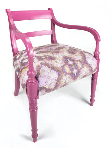 ONE-OFF HAND-PAINTED ANTIQUE CHAIR : SEKHMET SKY FABRIC