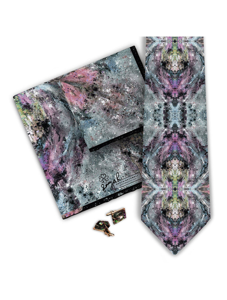 Pocket Square - SONYA ROTHWELL MANASLU TWILIGHT BLU SILK POCKET SQUARE