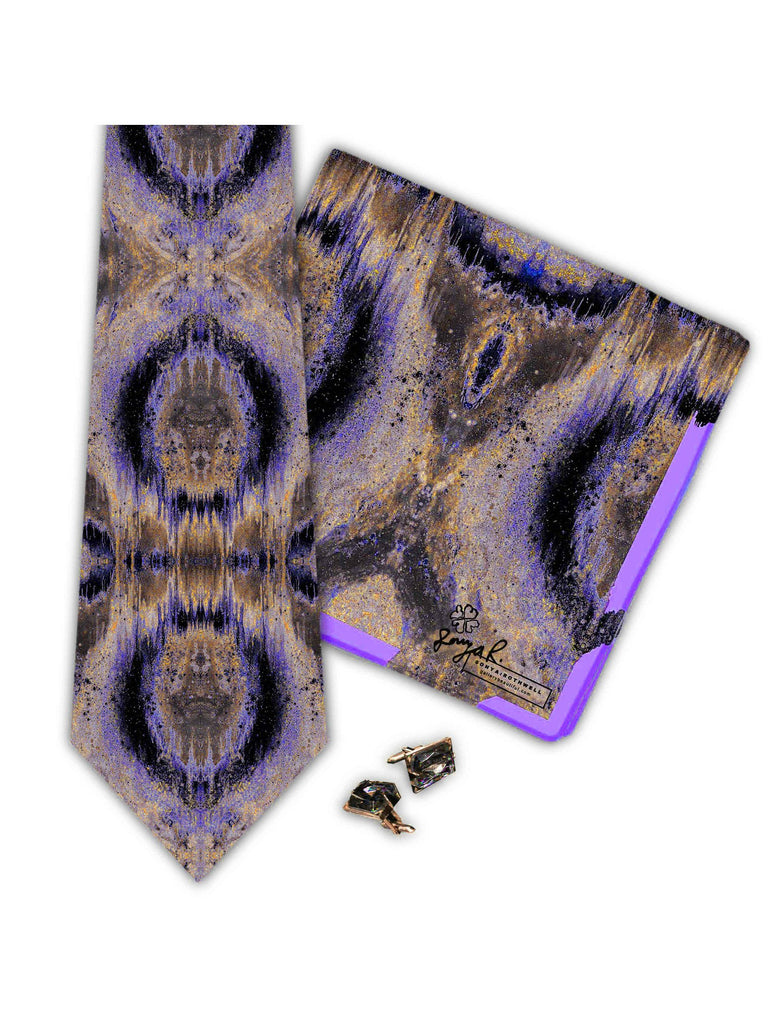 Pocket Square - SONYA ROTHWELL OCTAHEDRON PURPLE SILK POCKET SQUARE