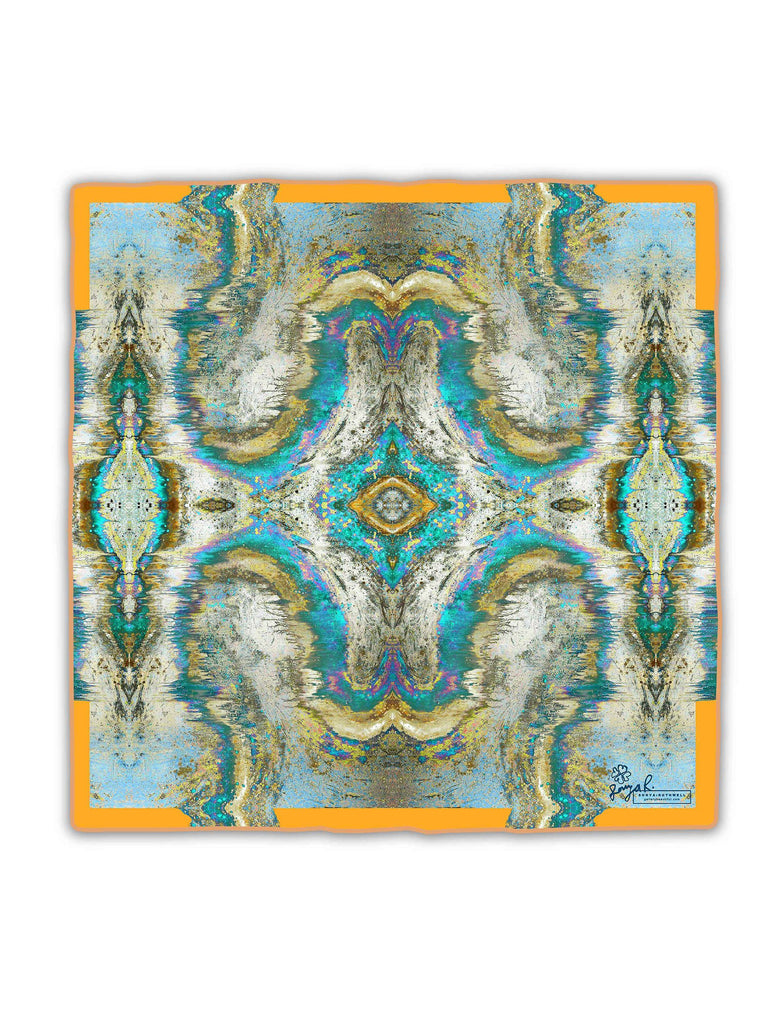 Pocket Square - SONYA ROTHWELL SACRED GEOMETRY ORANGE SILK POCKET SQUARE