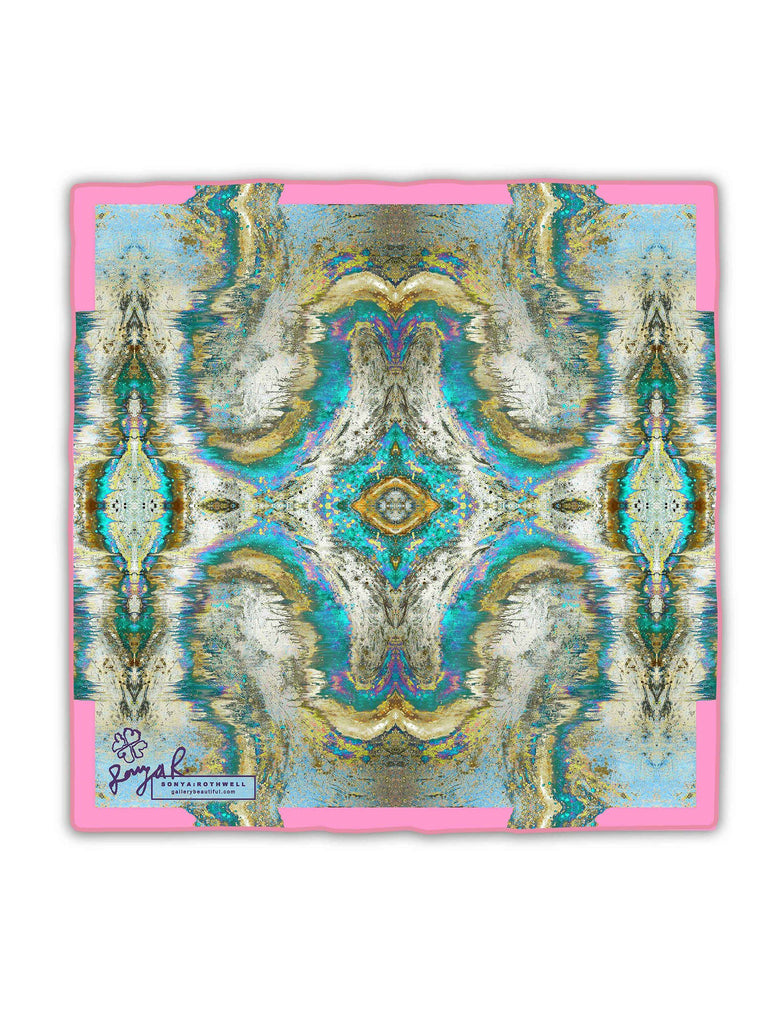 Pocket Square - SONYA ROTHWELL SACRED GEOMETRY PINK SILK POCKET SQUARE