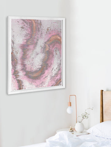 SONYA ROTHWELL HAND-PAINTED SILK SCREEN PRINT : RESONANT ENERGY : PINK