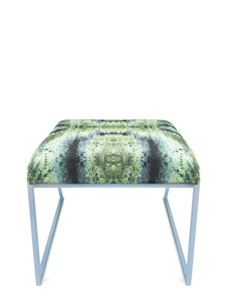 Stool - IRIDESCENT LIGHTENING STOOL : INFIINIITY BLUE SAGE VELVET