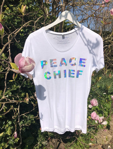 NON PROFIT HOLOGRAPHIC 'PEACE CHIEF' T-SHIRT