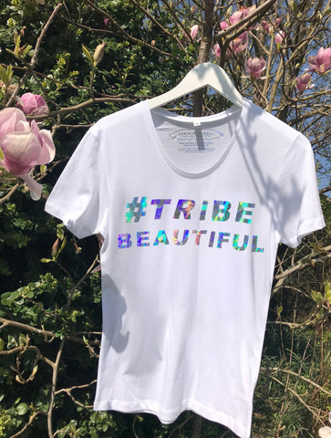NON PROFIT HOLOGRAPHIC 'TRIBE BEAUTIFUL' T-SHIRT