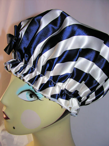 Navy and White Stripe Silk Shower Cap