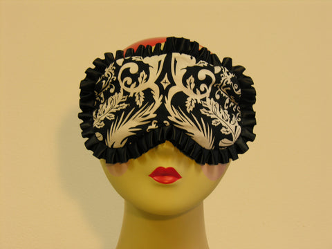 Sleep Mask damask print in shades of black and white