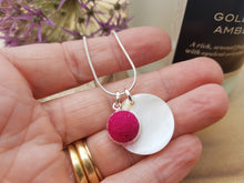 Mother of Pearl Dot Necklace - Dark Pink