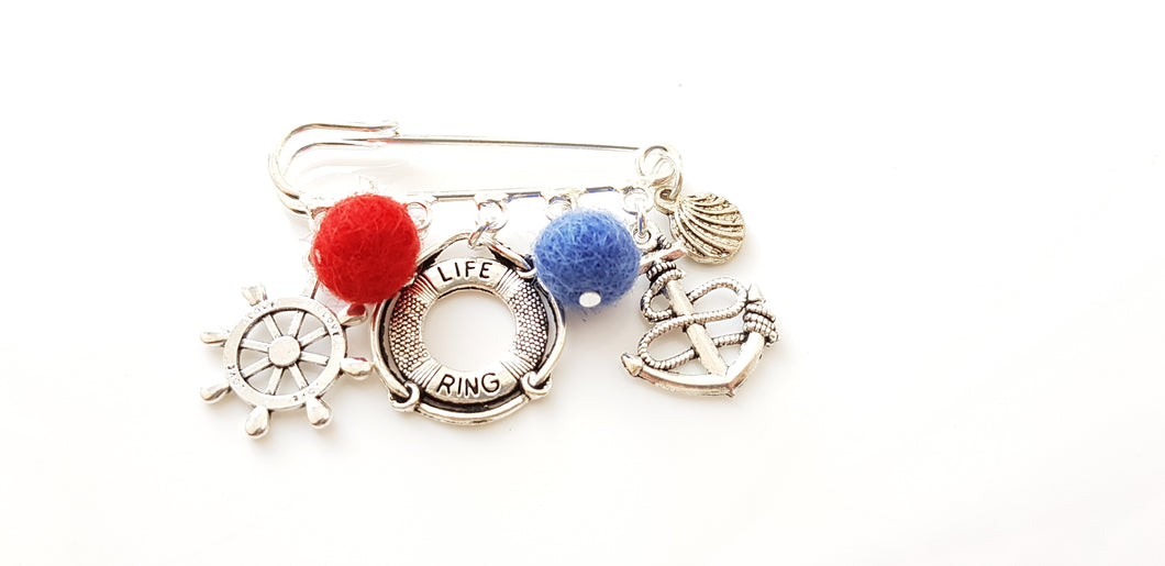Nautical charm brooch