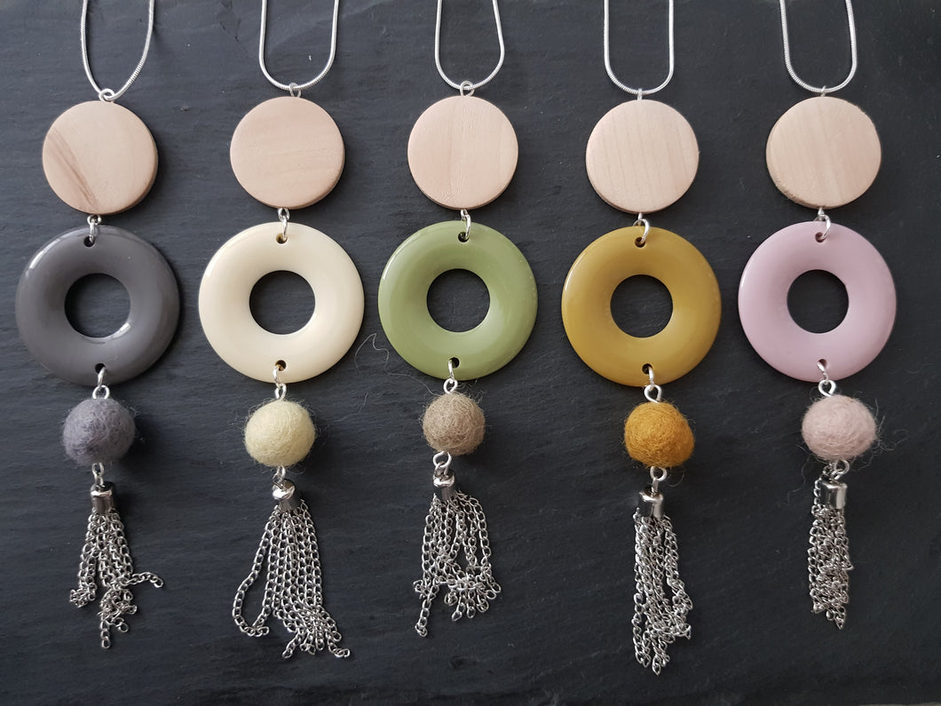Opaque Acrylic Donut necklace - Comes in 5 colours