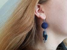 Wood and Wool corded Earrings, Navy or Rosewood Red