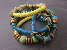 Electroplate mixed media stretch bracelet - Green or Teal