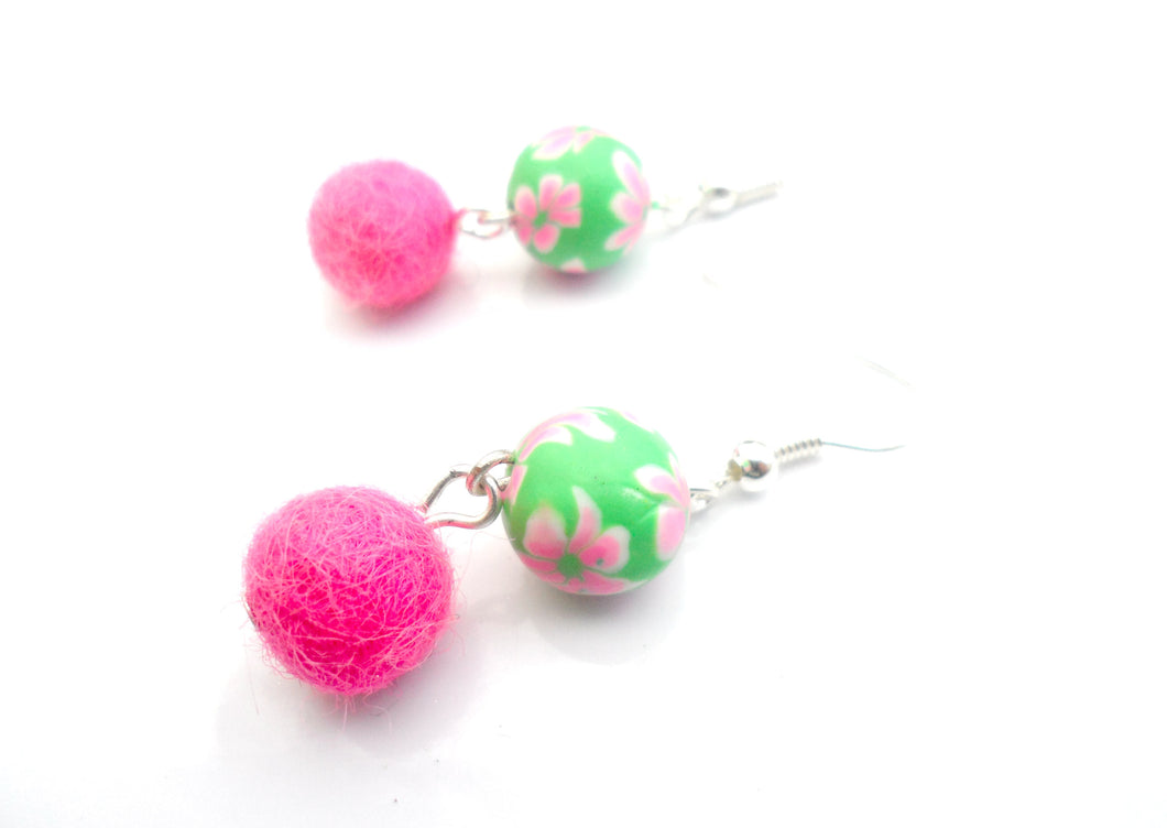 Multi coloured Fimo clay and wool earrings  - Hot pink and green