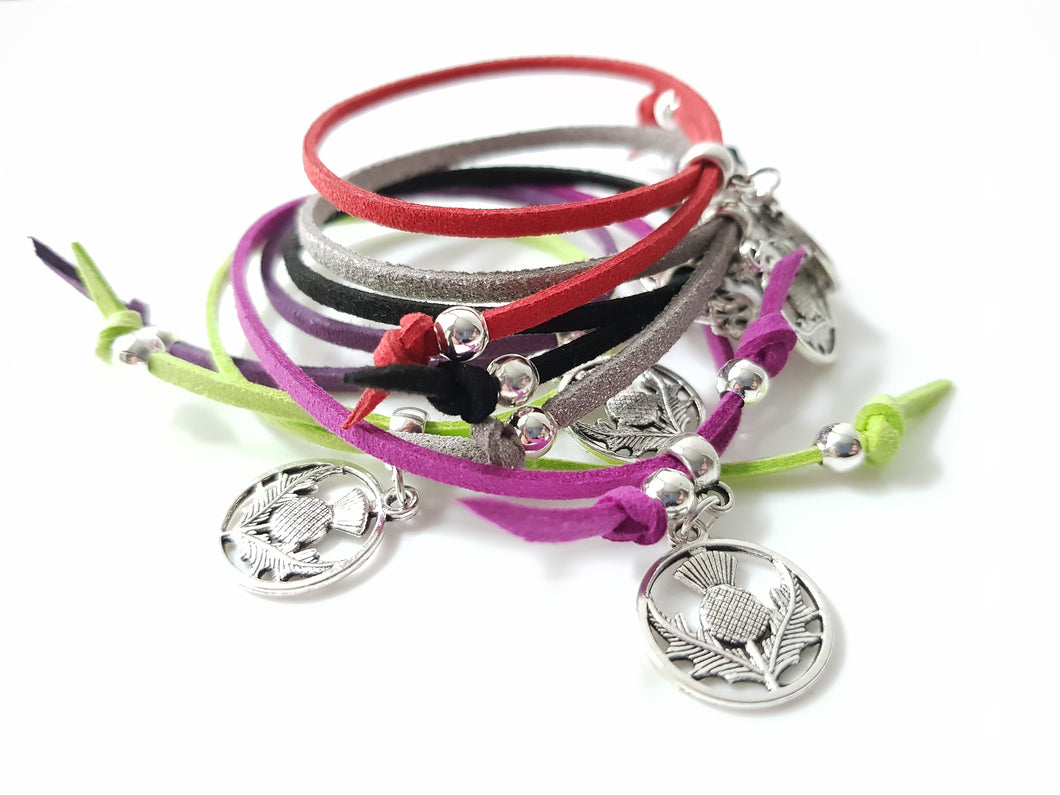 Scottish friendship Thistle bracelets - Pack of 6 Assorted