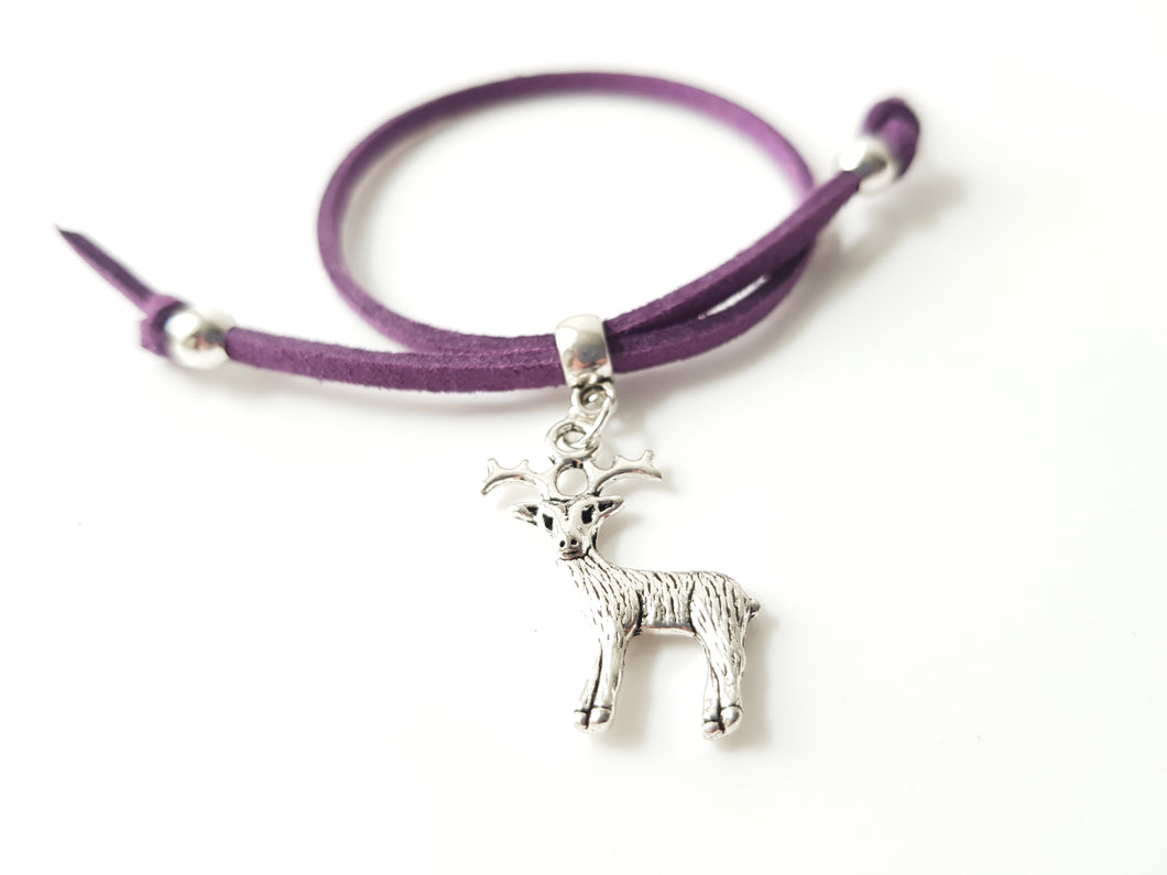 Scottish friendship Stag bracelet - Purple