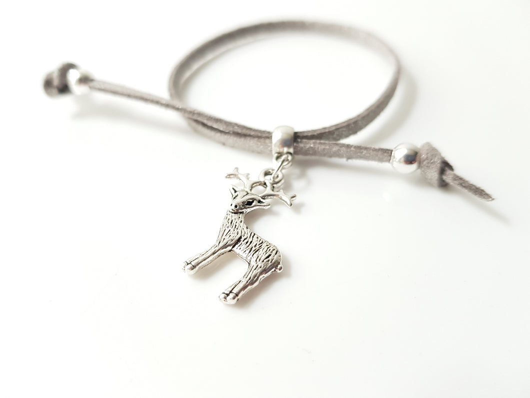 Scottish friendship Stag bracelet - Grey / Silver