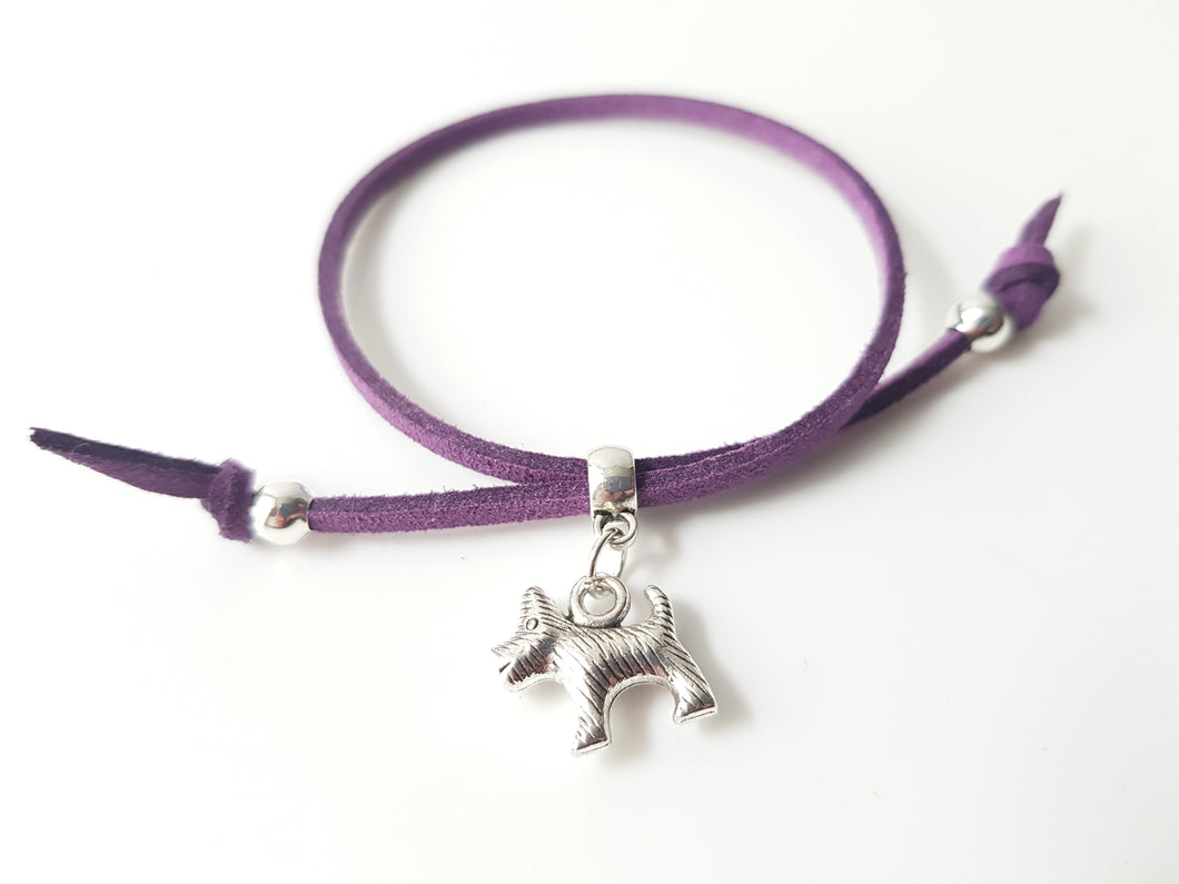 Scottish friendship Scottie dog bracelet - Purple
