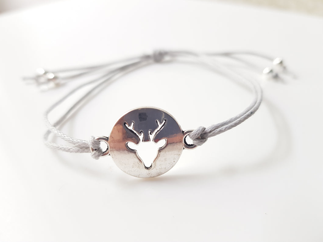 Stag cord friendship bracelet - Grey