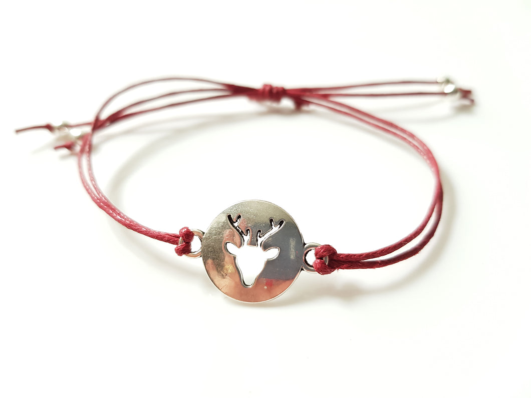 Stag cord friendship bracelet - Burgundy
