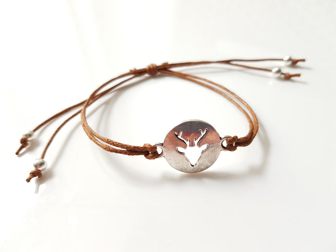 Stag cord friendship bracelet - Brown