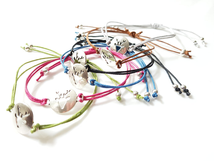 Stag cord friendship bracelet - Pack of 6 assorted