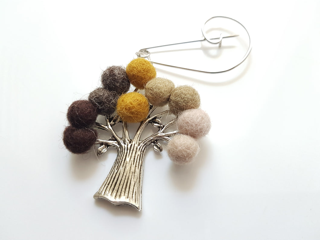 Tree Of Life - Brooch - mustard / brown