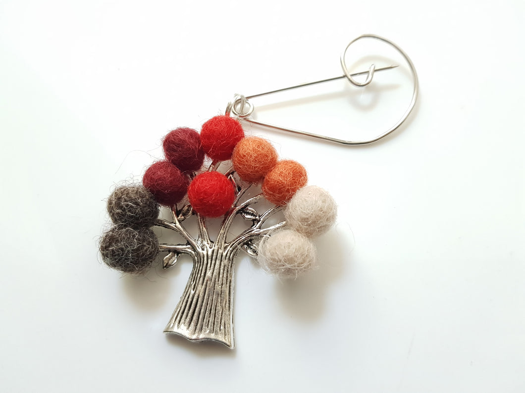 Tree Of Life - Brooch - Red