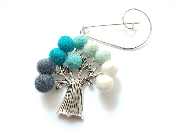 Tree Of Life - Brooch - Aqua
