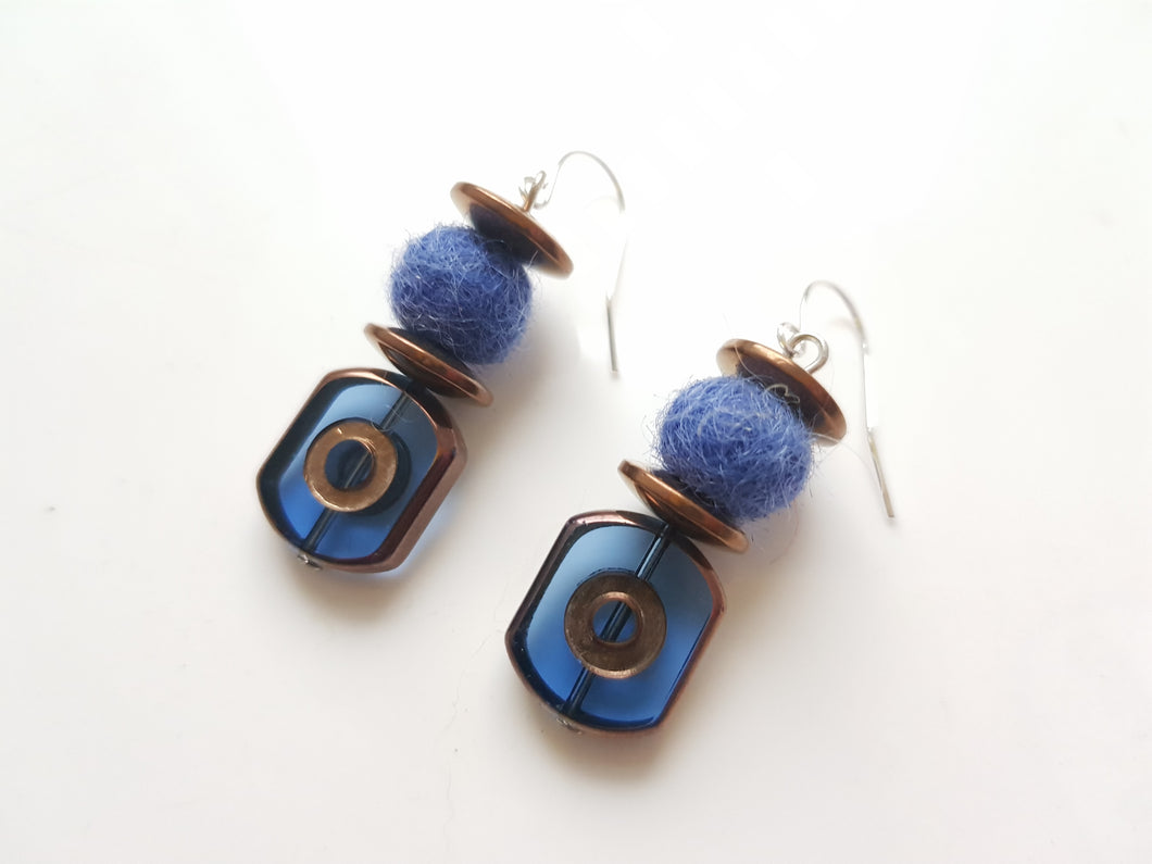 Blue Electroplate Glass Earrings