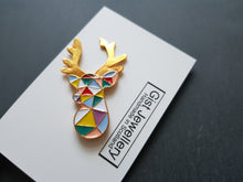 Geometric Reindeer stag head pin Badge / Brooch
