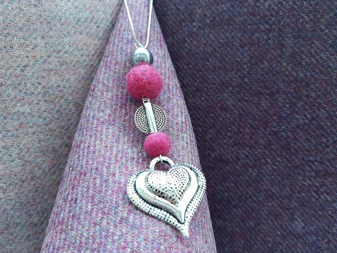 Heart Drop Pendant - Ruby Pink