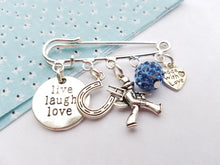 Live, Laugh and Love lucky brooch