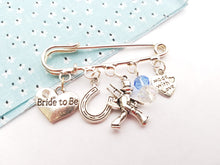 Something blue bridal Kilt Pin charm brooch