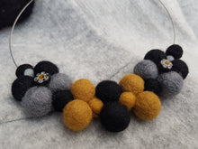 Black Daisy Bib collar necklace