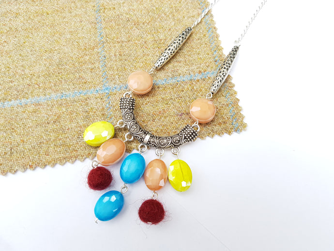 Summer Blush Long drop necklace - Turquoise blue