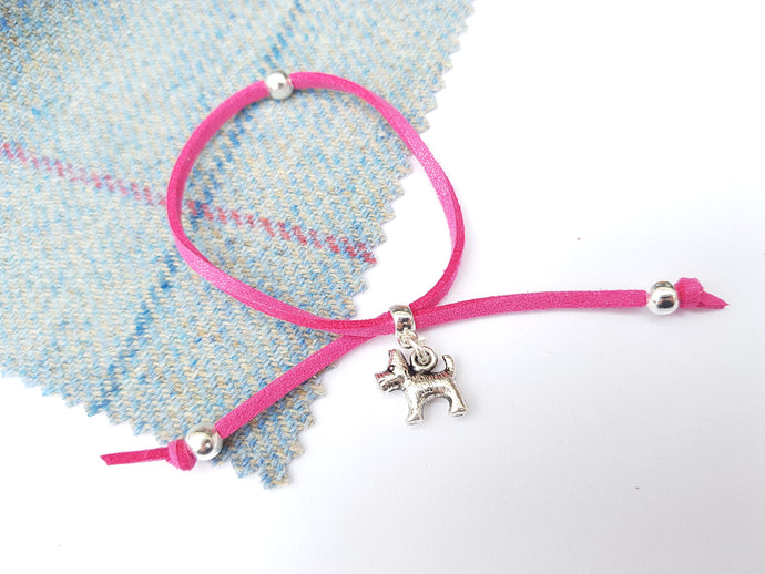 Scottish friendship Scottie Dog bracelet - Rose Pink