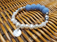 Fresh water Pearl & Mother of pearl Bracelet - French Blue