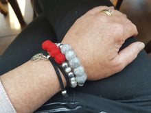 Fresh water Pearl & Mother of pearl Bracelet - Red