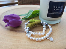 Fresh water Pearl & Mother of pearl Bracelet - Olive